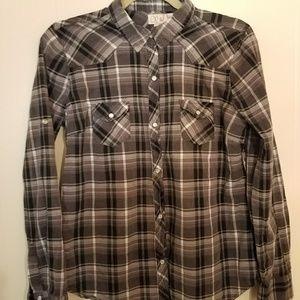 OP pearl button button down shirt size Lg